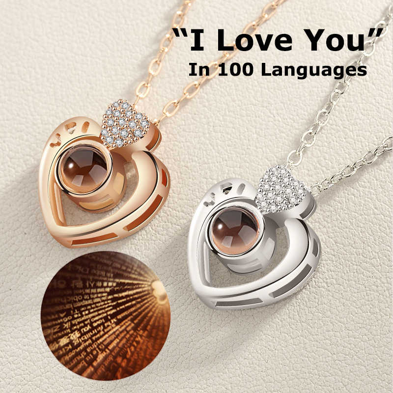 ドロップシッピングニュー · ローズゴールド 100 言語私は愛あなた投影ペンダントネックレスロマンチックな愛メモリ結婚式のネックレス