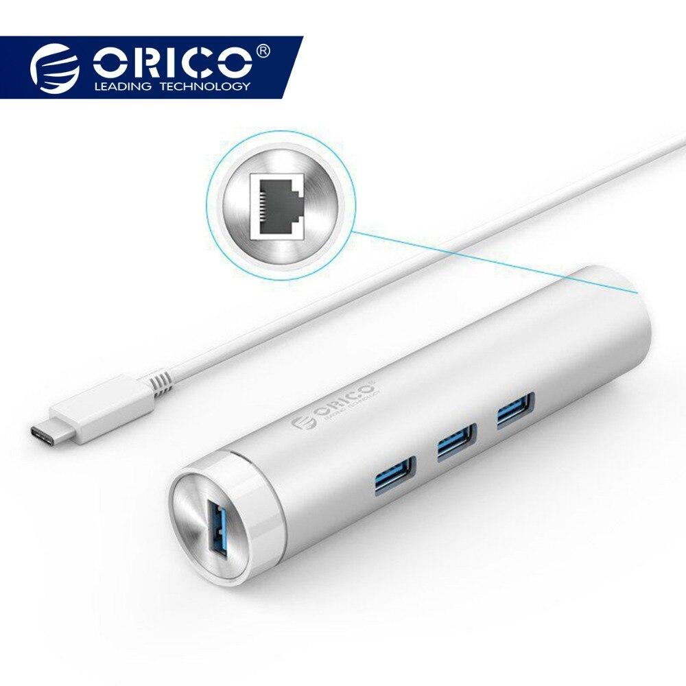 ORICO ARH3L-U3 Aluminium Runde USB3.0 HUB mit RJ45 Port USB A zu Typ-C für Apple Laptop Macbook Oberfläche pad Perfekt-Silber