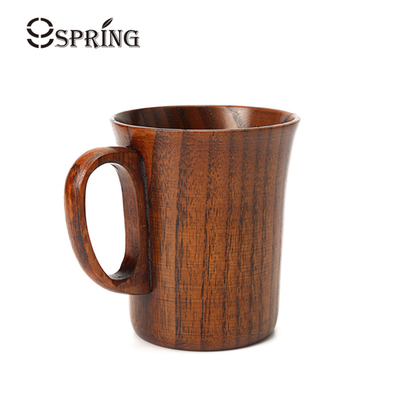 280ml Wood Coffee Mug Retro Hand-made Wooden Beer Mug Coffee Tea Cup with Handle Solid Wood Cups and Mugs Home Office Drinkware