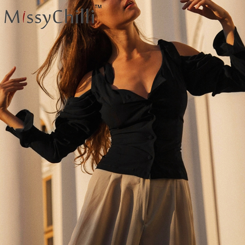 MissyChilli Spaghetti strap white   blouse     shirt   Women cold shoulder long sleeve   blouse   summer party club sexy casual   shirt   tops
