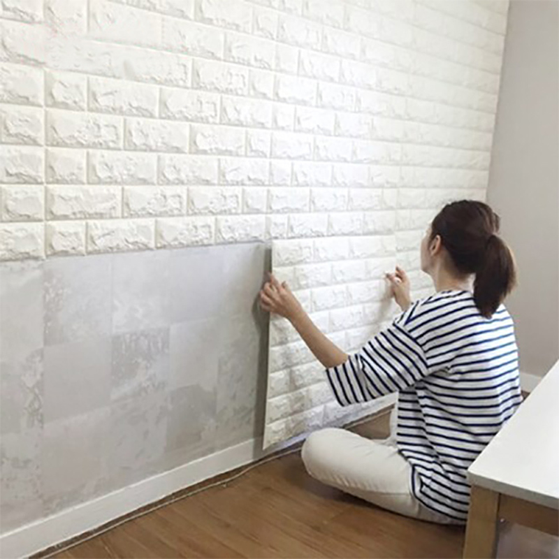 2.6Ft x 2.3Ft Mengupas dan Stick Panel Dinding 3D untuk Dinding TV / Sofa Latar Belakang Wall Decor White Brick Wallpaper