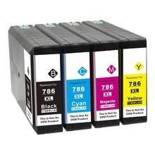Совместимый для замены чернильного картриджа для Epson T786XL 786 XL(1 черный, 1 голубой, 1 пурпурный, 1 желтый; 4 шт. в упаковке