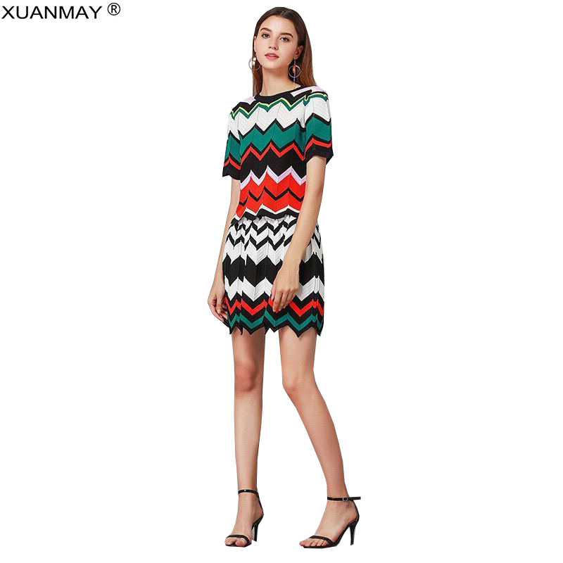 Summer Wavy Striped Short-sleeved Top And Skirt Two-piece Suit Bohemian Knit Ladies Suit Fashion Striped Top And Skirt Suit