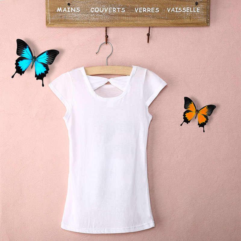Новые модные хлопковые летние топы для маленьких девочек; белые повседневные футболки с блестками и принтом; От 3 до 8 лет