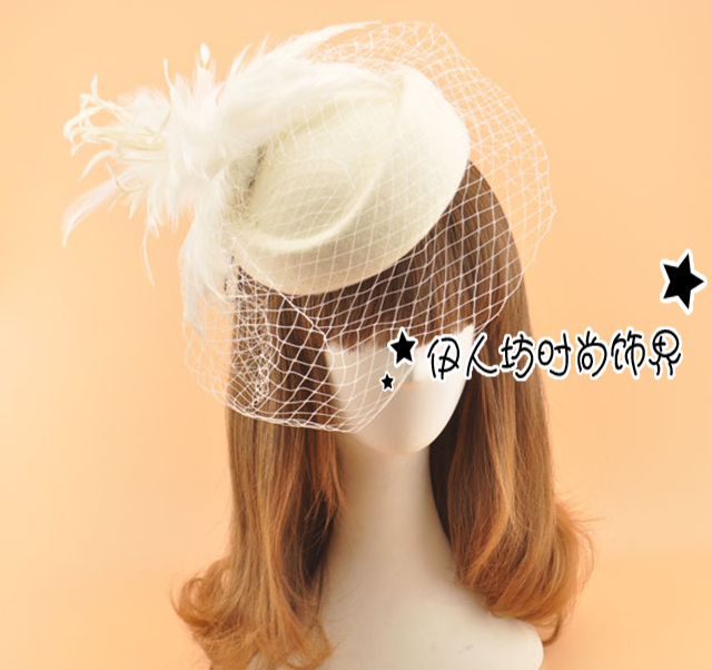 99ca5b16 Vintage Bridal Hats UK Berets Feather Flowers Wedding Hat With Veils Wool  Blended Bridal Hair Accessories Head Decorations