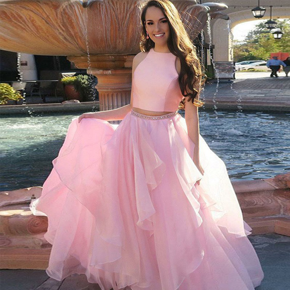 Bbonlinedress New Designed Prom Dresses 2019 Two Piece Evening Dress Pink Tiered Gowns with Beading Vestido de fiesta
