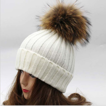 fashion Classic Tight Knitted Fur ball Pom Poms knitted Hat Women Cap Winter Beanie rabbit fur ball fox hair fur balls