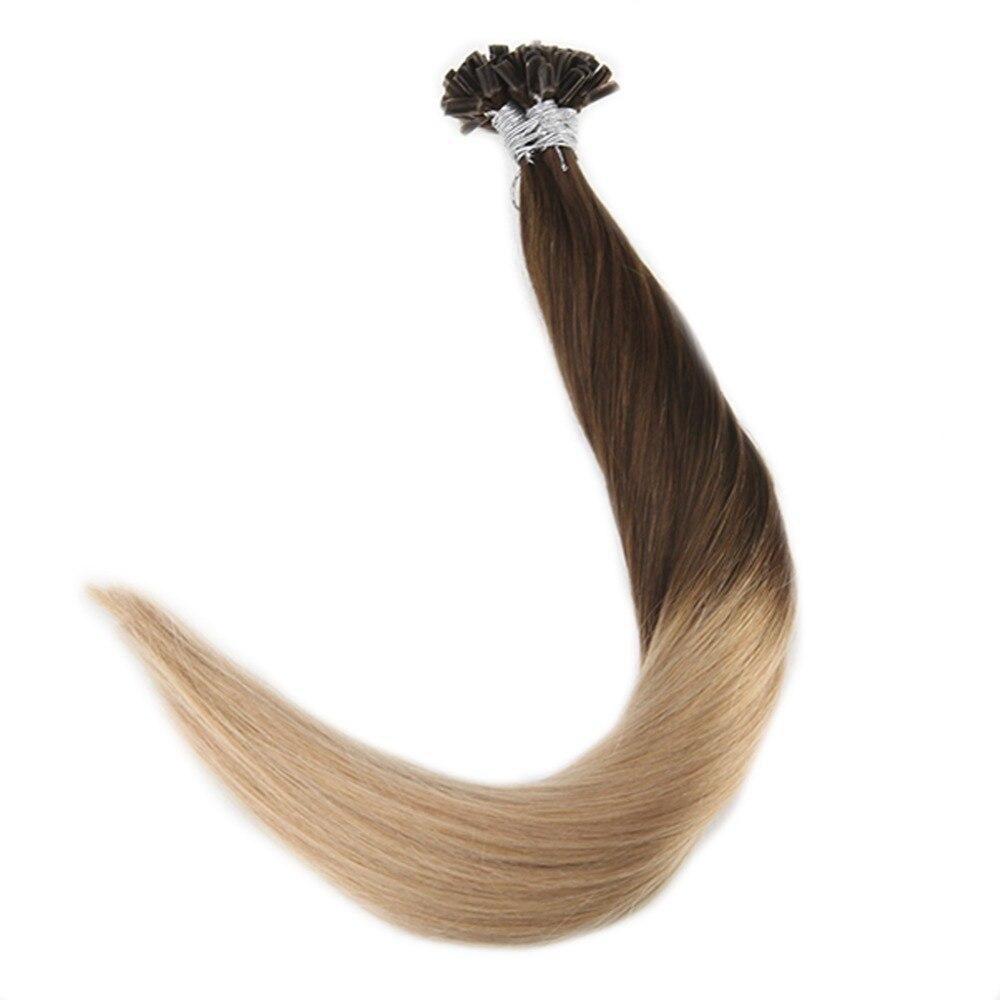 Brillant Voller Glanz 100% Remy Haar Extensions U Spitze Haar Vor Verbundenes Haar Extensions Ombre Farbe #4 Verblassen Zu 27 1g/strand 50g U Spitze Haar Nagel/u-spitze
