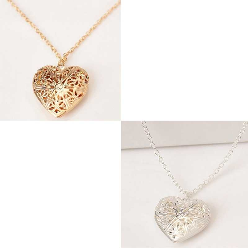 05fd6b8983 ... Hollow Love Heart Locket Necklace Pendant 2 Colors Openable Vintage  Gift For Lover ...