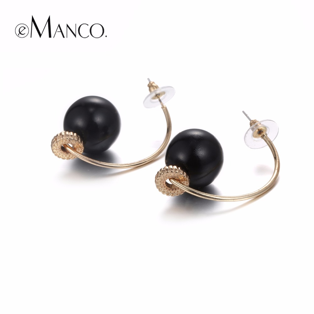 eManco Trendy Minimalist C Shape Pierce Hook Stud Earrings for Women Black Beads Ear Bra ...