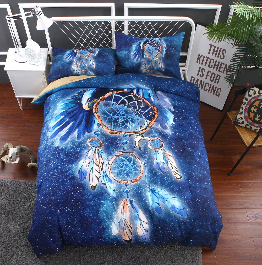 dreamcatcher bedding set 2 3pcs bohemian duvet covers blue bedsheets twin full queen king size. Black Bedroom Furniture Sets. Home Design Ideas