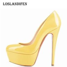 8c264ba56136 Loslandifen Women Pu Leather Party High Heel Shoes Plus Size 35-42 Ladies  Candy Color