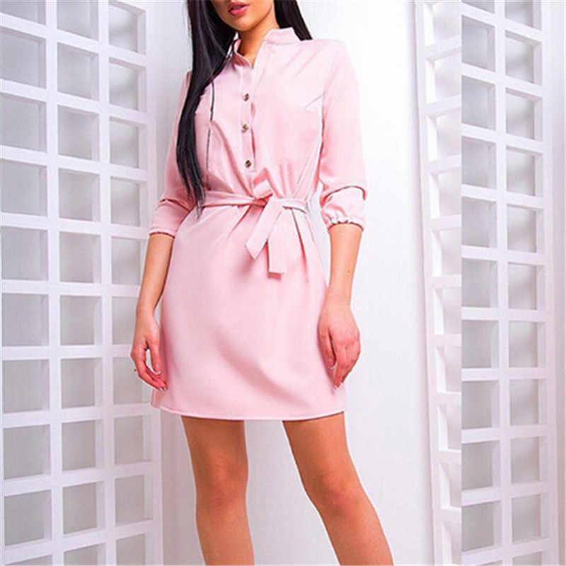 Women Fashion Elegant single breasted solid belt dress high Waist Band Evening dresses Cocktail Party Mini Dress women