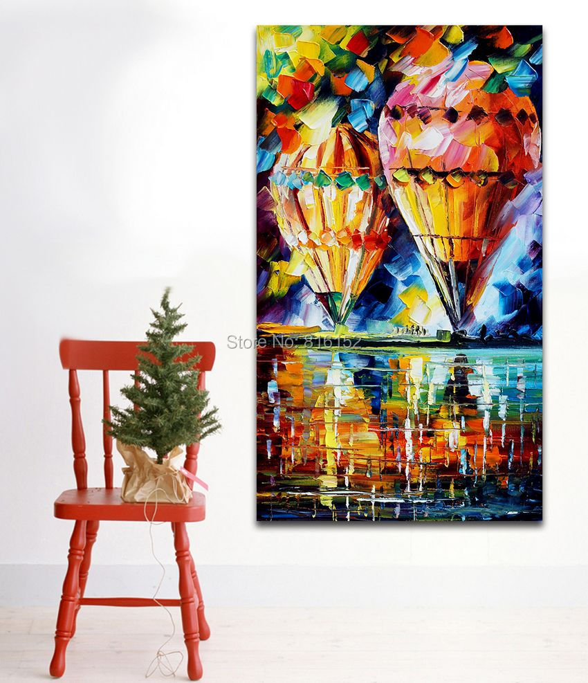 Modren Palette Knife Painting Hot Air Balloon Printed On Canvas Mural Art For Home Office Decoration In Calligraphy From Garden
