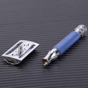 Image 5 - Yaqi Blau Farbe Messing Schwere Griff Nass Sicherheit Rasiermesser