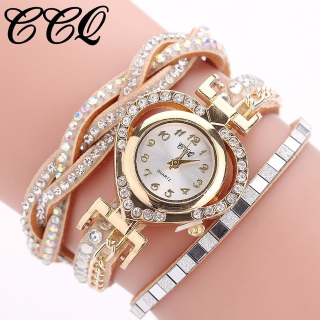 Drop Shipping CCQ Women Fashion Watch Casual Women Love Heart Bracelet Watch Clo