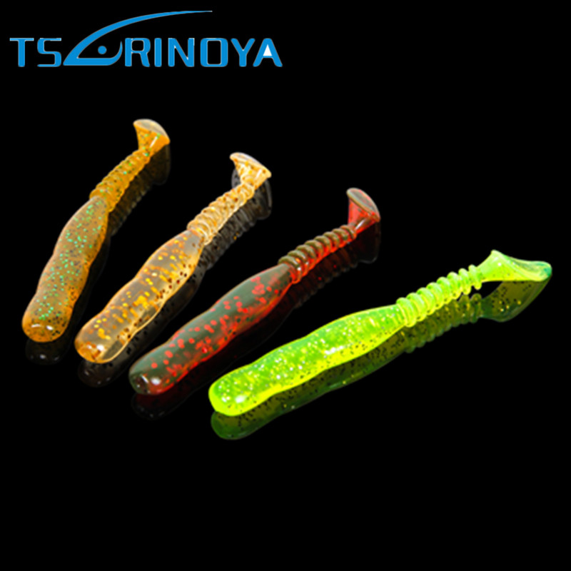 10Pcs Trulinoya Soft Bait 70mm/2.3g T-Tail Fishing Lure Silicone Baits Leurre Peche Isca Artificias Para Pesca Fishing Tackle smart lure 12cm grub single t tail silicone soft baits for pike bass isca artificial pesca leurre souple peche carp fishing bait