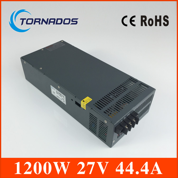 1200W 27V Switching power supply for LED Strip light AC to DC power suply input 110v 220v 1200w ac to dc power supply 1200w 12v 100a adjustable 220v input single output switching power supply for led strip light ac to dc
