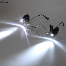 2pcs LED Eyeglass Clip Light Flexible Book Reading Lights Adjustable Lighting Tools