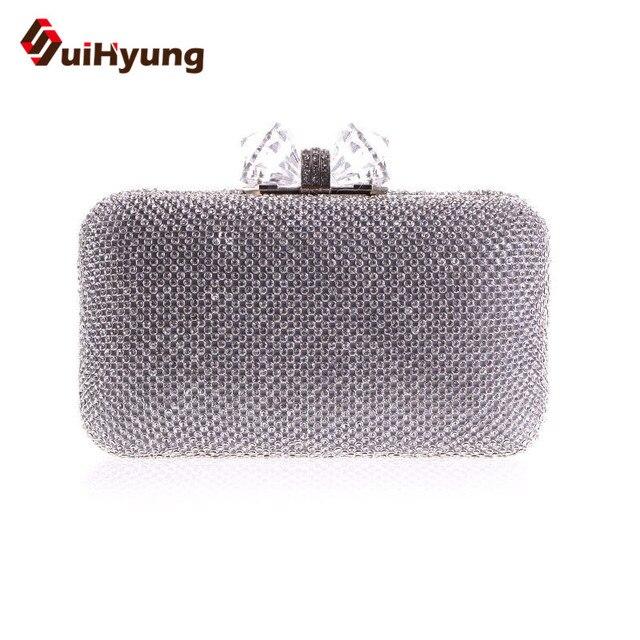 Free Shipping Bling Full Diamond Women Evening Bag Fashion Glitter Crystal Wedding Small Clutch Lady Purse Shoulder Bag Handbag
