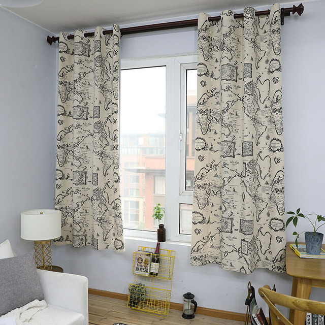 Countryside Modern Map Print Blackout Curtain Cotton Thick for Livingroom Bedroom Home Decoration Solid Window Treatment Drape