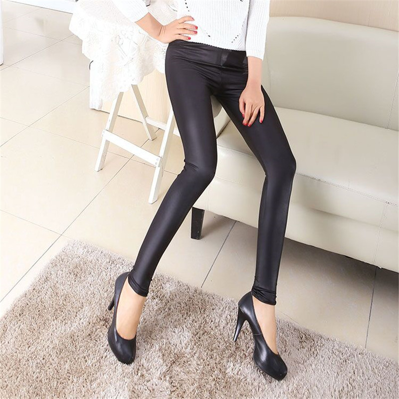 Faux Leather Ankle-Length Pants Leggings Women Thin High Waist Pants Regular Black Sexy Plus Size Elastic Waist Trousers New