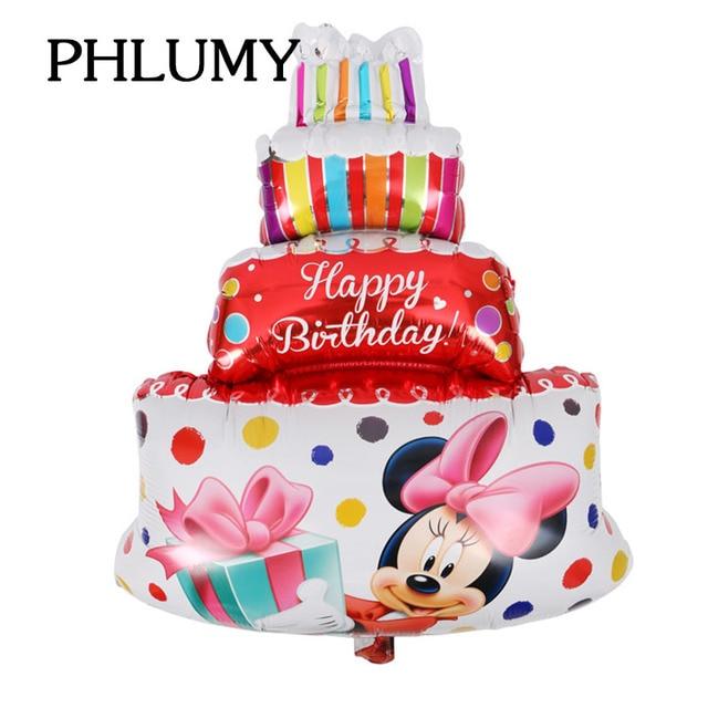 Wondrous Large Mickey Minnie Birthday Cake Foil Balloons Wedding Decor Funny Birthday Cards Online Overcheapnameinfo