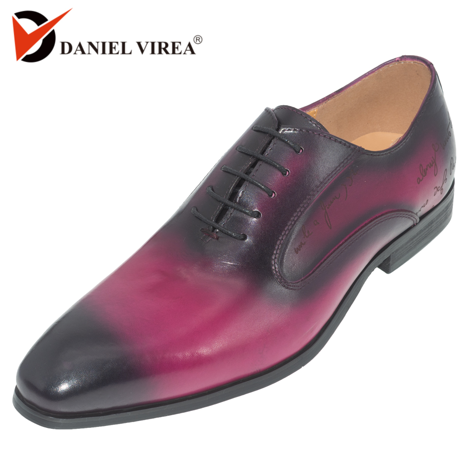 daniel virea violet color Handmade Formal Office Business Footwear Mens party and wedding Leather men oxfords