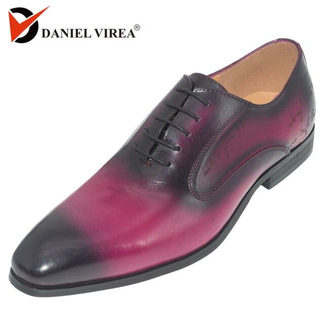 Daniel virea สีม่วง Handmade อย่างเป็นทางการสำนักงานธุรกิจรองเท้า Mens งานปาร์ตี้และงานแต่งงานหนังผู้ชาย oxfords รองเท้า