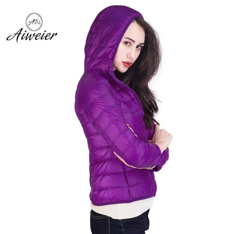 [Aiweier] Ultra Light Down Jacket Women New Autumn Winter Thin Hooded Japan Style 12 Colors Down Coats Parkas For Female Outwear