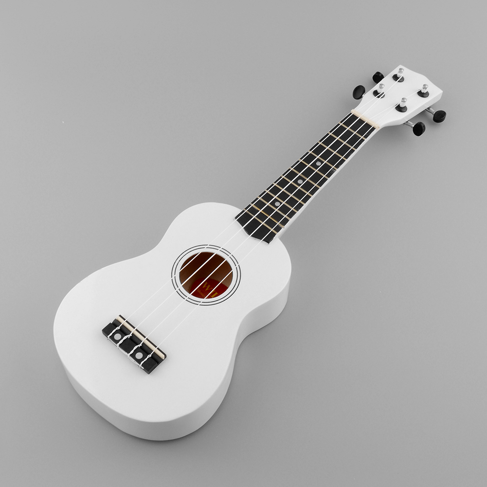Mini 21'' Soprano Ukulele 12 Frets Instrument Wood Hawaiian Style Guitar White