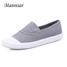 Manresar 2017 Women New Fashion Flat Shoes Spring Slip-on Striped Canvas Shoes Women High Quality Breathable Women Zapatos Mujer