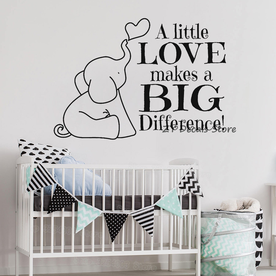 Cute Elephant Quotes Wall Stickers For Baby Nursery Bible