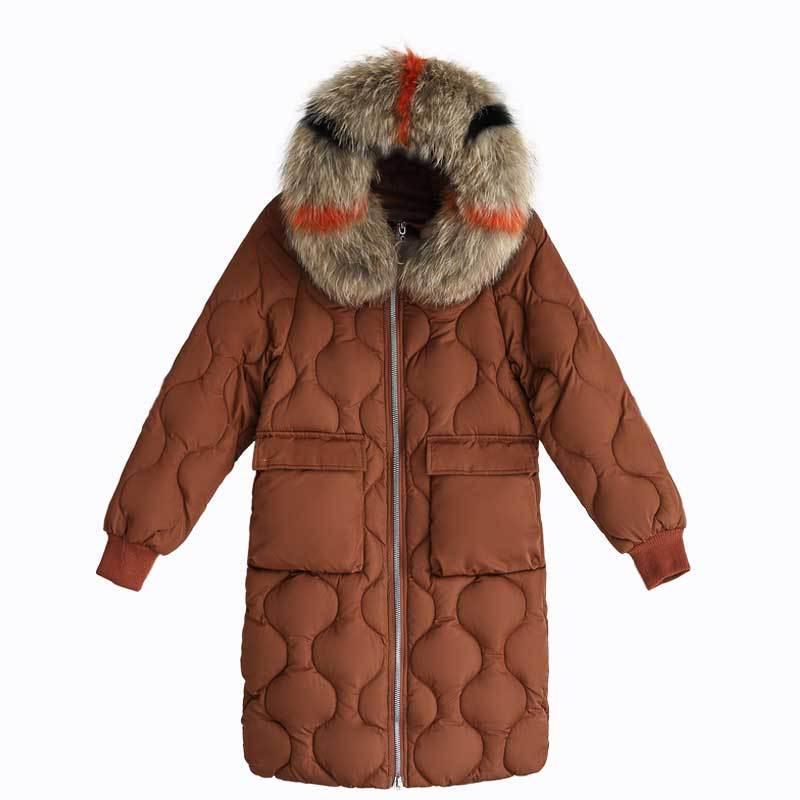 2018 gris Grande Poches Mode Pour 3xl De rouge Nouveau Style Grandes Femme Veste marron blanc Les Capuchon Fourrure Parka Noir Vêtements Hiver Taille À Femmes Plus La Manteau 4vwZa1nnqX