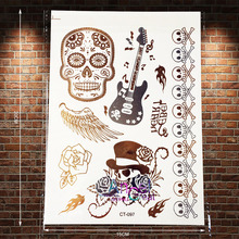 1PC Large Size Henna Skull Flower Temporary Tattoo Sticker Gold Color ACT-097 Punk Guitar Guns N Roses Rock Tattoo Wing Bracelet