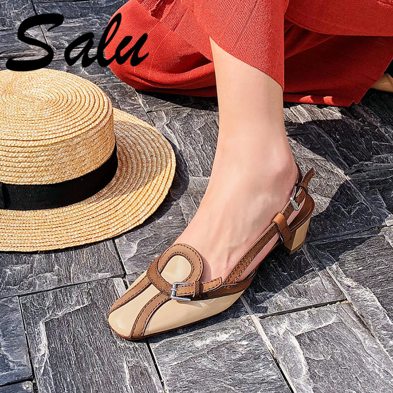 Salu Sandals Handmade Genuine Leather New Sexy Lady Peep Toe Retro Sandals Square Heel Buckle Strap