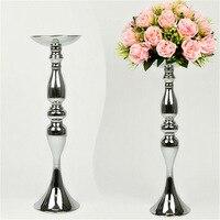 Srebrny Metal Świeczniki 50 cm/20 ''Stań Kwiaty Wazon Centrum Kawałki Ślub Świeczniki Świecznik Jak Ołowiu Drogowego dekoracji