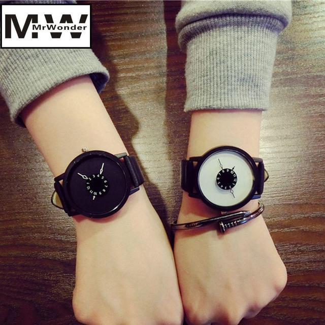 mrwonder Fashion Unisex Quartz-watch Unique Dial Design Lovers' Watch Leather Wr
