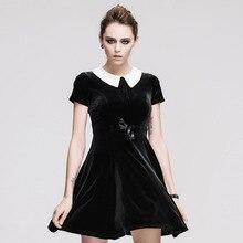 2017 new Steampunk Goth GOTHIC slim short sleeved dress dark street personality summer  female