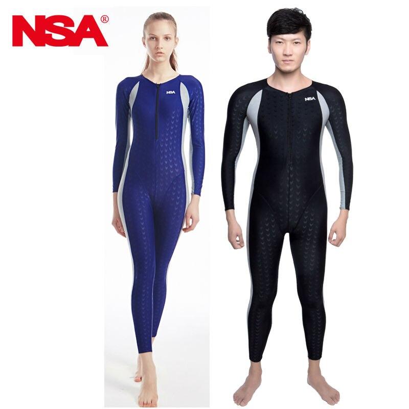 NSA  full body lycra swimwear sharkskin waterproof mens bodysuit swimming wetsuits diving suit miss booty
