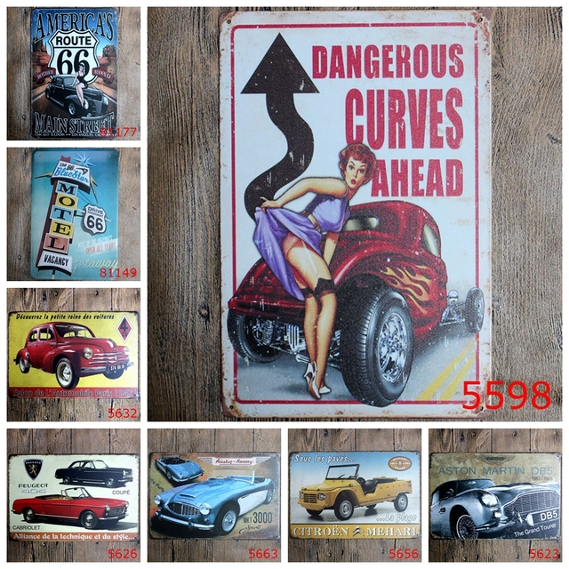 Classic Wall Stickers Vintage Tin signs Route 66 Cars wall sticker home decor House Office Garage Bar iron Paintings 20*30 CM