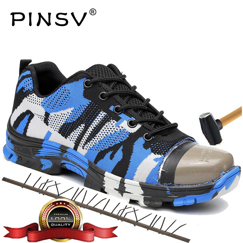 Unisex Steel Toe Safety Shoes Men Work Shoes Camouflage Boots Men Outdoor Work Boots Air Mesh Shoes Male PINSV Big Size 36-46 fashion breathable safety shoes steel toe men lightweight mesh working shoes man safety boots big size 35 46 work boots for men