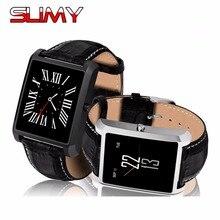 Pegajoso Nova MTK2502D DM08 Além de Relógio Inteligente Bluetooth Smartwatch Com Pulseira de couro para IOS Android Telefone PK DM09 K88H GW01 KW18