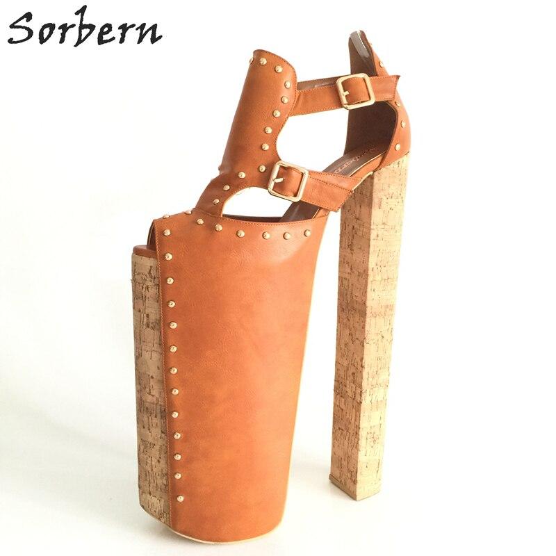 Sorbern Extrem High Heel Customized Thick Platforms Women Pump Shoes Sexy Fetish Shoes Show Runway Pumps Plus Size EU34-46 ursus & nadeschkin extrem
