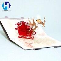 Música 3D pop up decoração de Natal Papai Noel cartão envelopes do cartão de corte a laser oco esculpida presentes kirigami