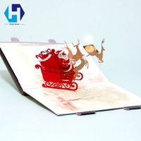 Music 3D pop up Christmas decoration Santa Claus greeting card laser cutting envelopes postcard hollow carved kirigami gifts