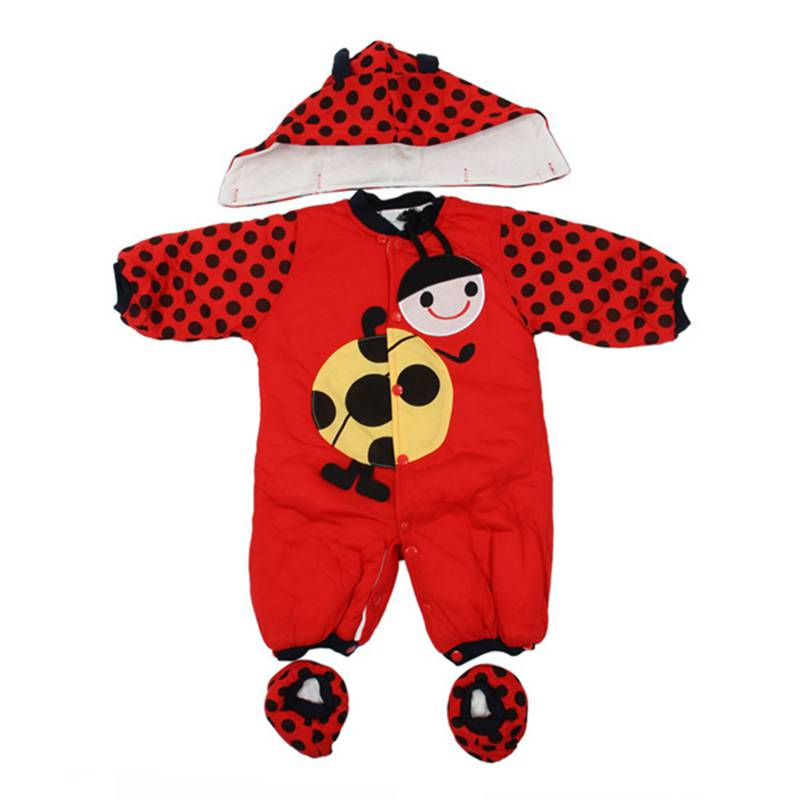 new Autumn Winter Clothing sets Cartoon Animal Style Cotton-padded Baby boys Rompers Cows Warm Kids girls badysuit