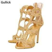 Gullick 2018 nova mulher verão sandálias de luxo ouro cristal sexy oco para fora mulher vestido de baile sapato 11.5 cm salto alto volta zip sapato