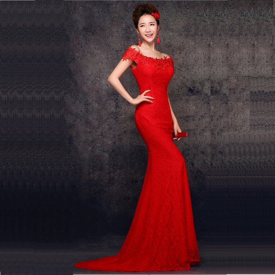 Mermaid Word Shoulder Red Lace Trailing Traditional