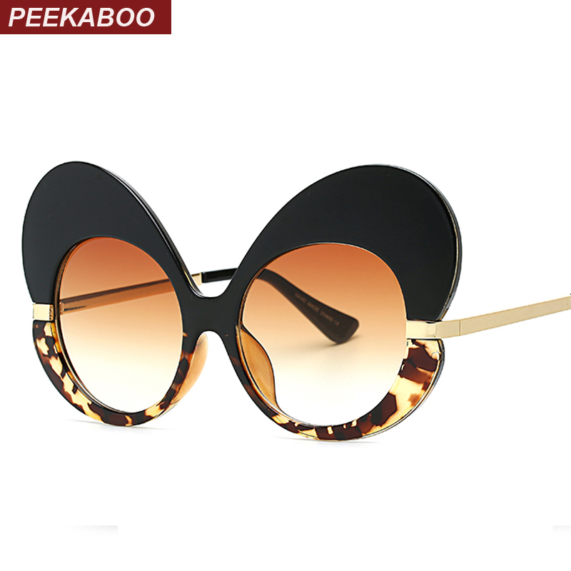 Peekaboo fashion ladies sun glasses for women cat eye oversized butterfly sunglasses women fashion glasses luxury party black